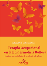 Book Cover in Red and yellow with butterflies and the Title Terapia Ocupacional en la Epidermolisis Bullosa