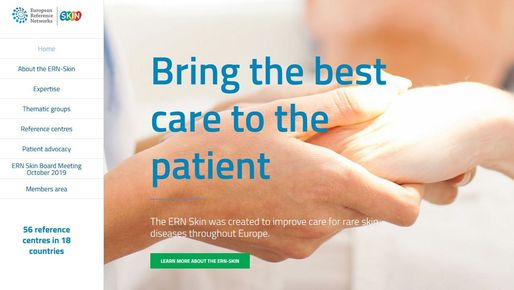 Homepage of the ERN-Skin with slogan 'Bring the best care to the patient'